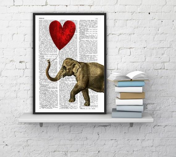 Christmas gifts for her Elephant, Wall art, Wall decor,   Vintage Book sheet, Nursery wall art, Prints, Dorm Decor,  ANI083