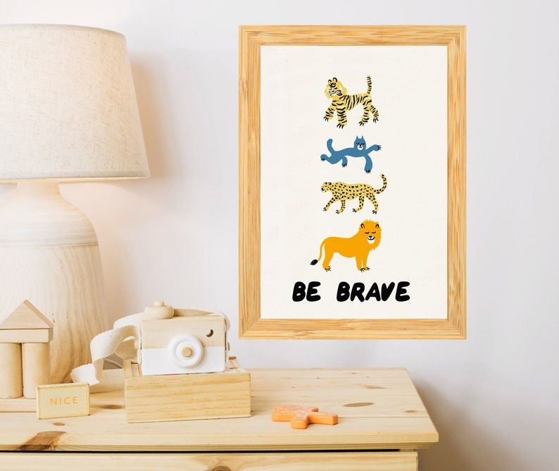 Tiger art Be brave encouraging Nursery decor Wall art for image 0