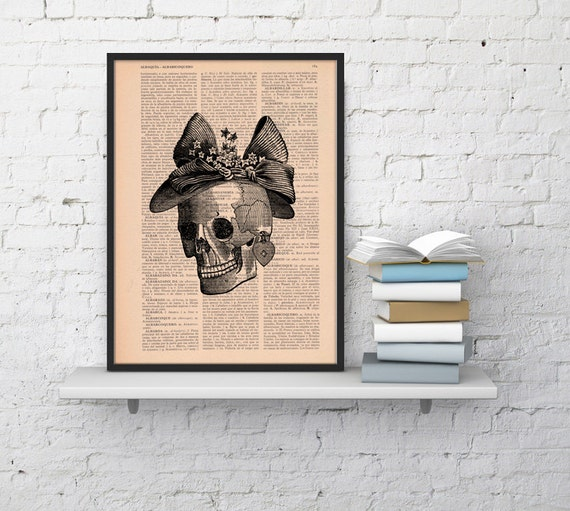 Christmas gifts for her Skull Book Print Vintage  Print Skull of a woman with a hat  Collage book print art SKA009