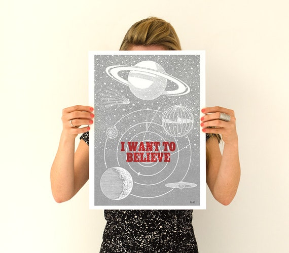 Christmas gifts for mom I want to believe Space Wall Art Art  Print, UFO Illustration wall art, Wall decor, Wall Hanging TVH104WA3