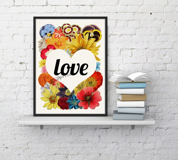 Wall decor Love Flowers, Typography poster, Wall art decor, Home decor ANIversary Gift,  Poster BFL097WA4