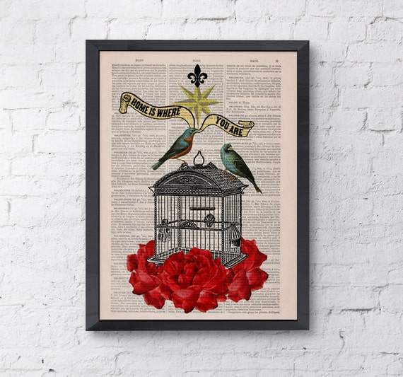 Upcycled book print quote Blue birds cage with roses collage Print on  Vintage Dictionary Book ANI189