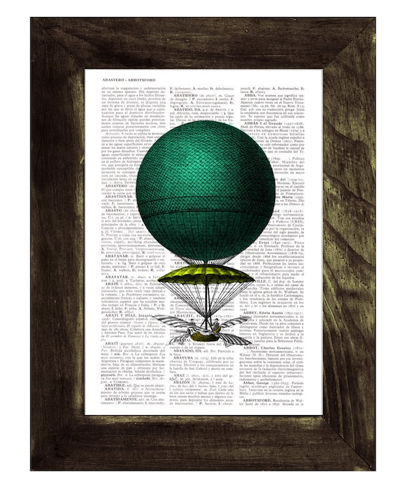 Christmas gifts for her Book print Hot air Balloon Neon colors Print on Vintage Book - mixed media art TVH126