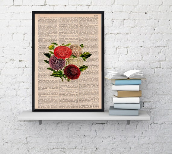 Vintage Book Print Dictionary or Encyclopedia Page Book print Dalias Floral Bouquet Vintage Flower Print BFL050