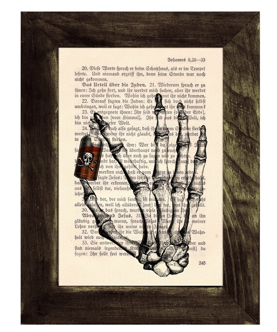 Upcycled Book Art Upcycled  Print  Name your Posion - Hand Bones holding Poison Print  on Vintage Dictionary SKA021