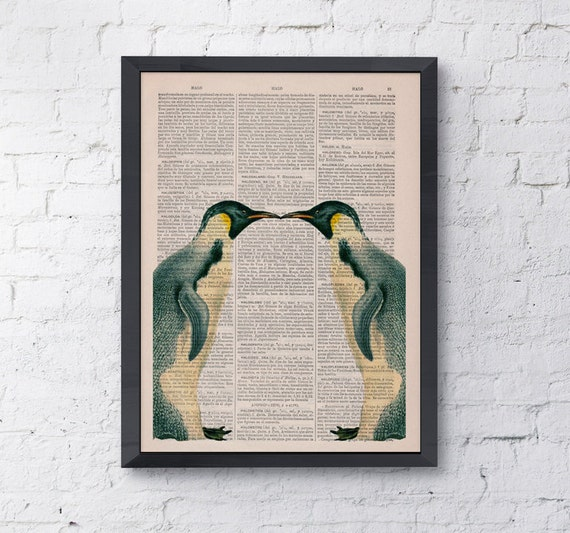 Vintage book print Two  Penguins in love Penguin Printed on Vintage Book sheet  Nursery wall art ANI016