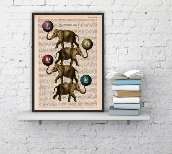 Christmas gifts for her Acrobatics Elephants in love, Wall art, Wall decor,   Vintage Book sheet, Nursery wall art, Prints,  ANI089