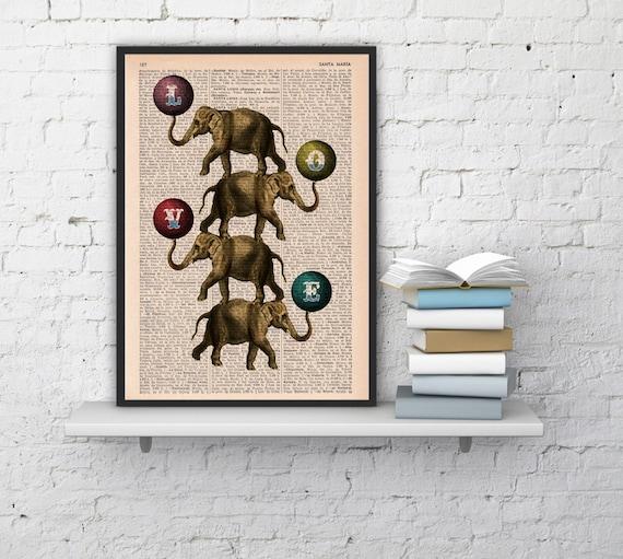 Acrobatics Elephants in love, Wall art, Wall decor,   Vintage Book sheet, Nursery wall art, Prints,  ANI089