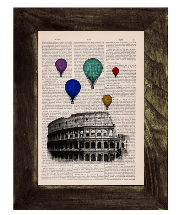 Christmas gifts for her Multicolored balloons over Rome .Vintage Book Print - Rome Colosseum Balloon Ride Print on Vintage Book art TVH035