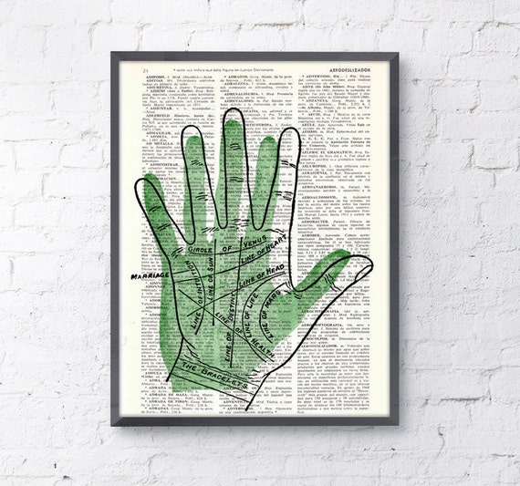 Palmistry lines gift, giclee print,wall hanging art,Palm reading instructions SKA083