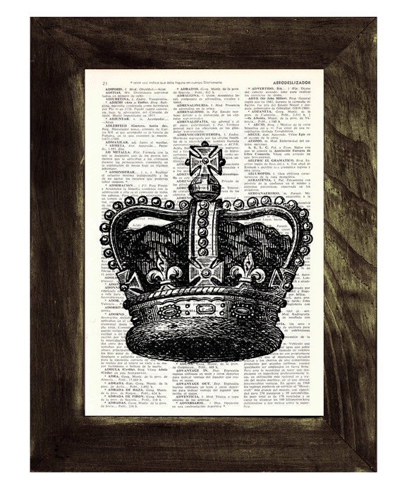 Christmas gifts for her Black King Crown Print -Upcycled Dictionary page print- Unique gift upcycled TVH064
