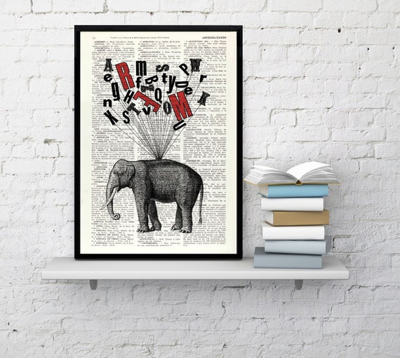 Christmas gifts for her Elephant print- giclee poster print Elephant Alphabet collage wall decor print gift for her Elephant Nursery ANI097