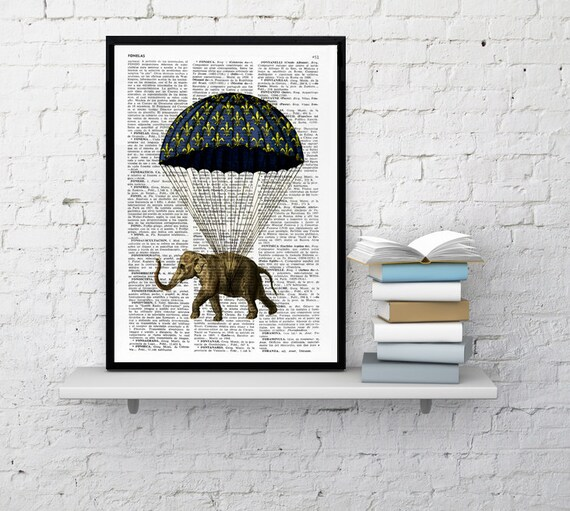 Elephant with parachute, Wall art, Wall decor,   Vintage Book sheet, Nursery wall art, Prints  ANI090