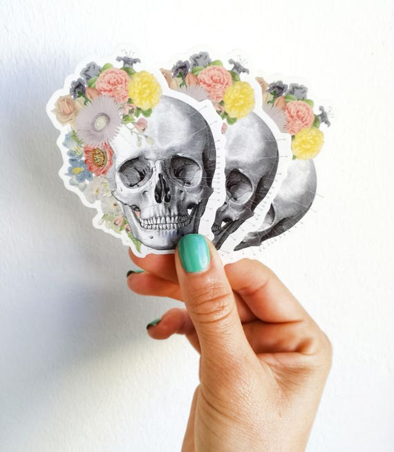 Springtime skull,  Human skull with flowers stickers, laptop stickers,Decal stickers , Medical student gift, BFF Girls STC005