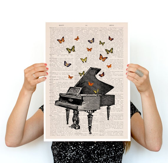 Piano with butterflies Poster, Synesthesia poster music art, Wall art, Wall decor, Butterfly art BFL086PA3