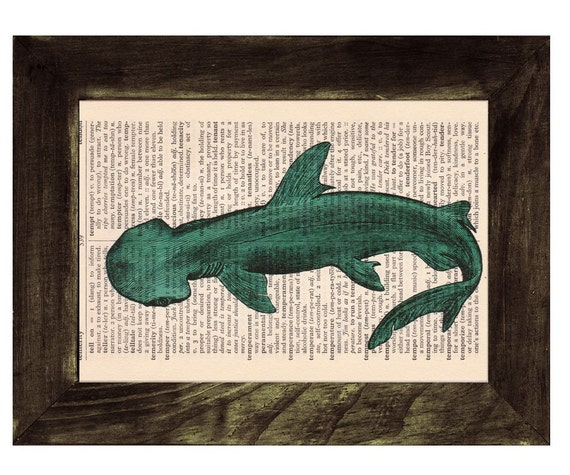 Vintage Book Print Dictionary or Encyclopedia Page Book print Shovelhead Shark Print SEA086
