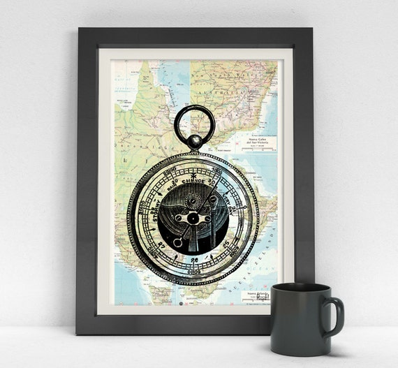 Old barometer print on Map Vintage Book Print Dictionary or Encyclopedia map Compass Print Vintage art SEA022MPM