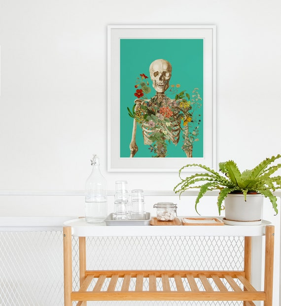 Skeleton covered with flowers green background Bones study art, Anatomical art decor, anatomical art, Wall art flowers, Green art SKA147WA3