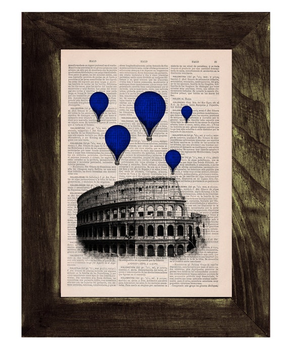 Blue balloons over Rome, Vintage Book Print, Rome Colosseum Balloon Ride Print on Vintage Book art Wall decor TVH037