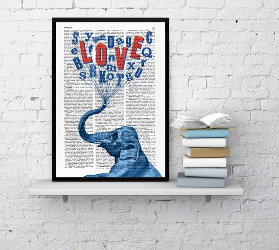 Elephant in love art print First Aniversary gift Original dictionary art Nusery print decor wall hanging ANI086