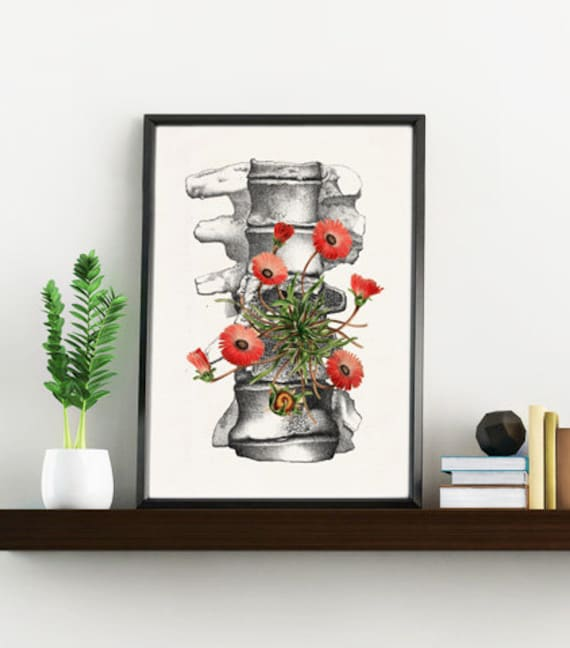 Human anatomy vertebrae with wild flowers, Anatomy art, Anatomical art, Wall art decor, Medical gift,  SKA097WA4