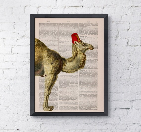 Vintage book print Funny camel Traveler Print on Vintage Book page camel with funny Nursery wall art animal ANI168