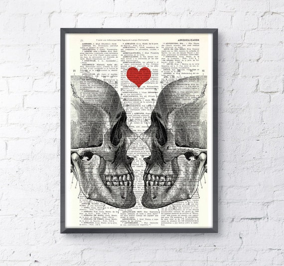 Wall art Skull book print Death means nothing to us Dictionary Book Page Prin gift husband, love wall art SKA001