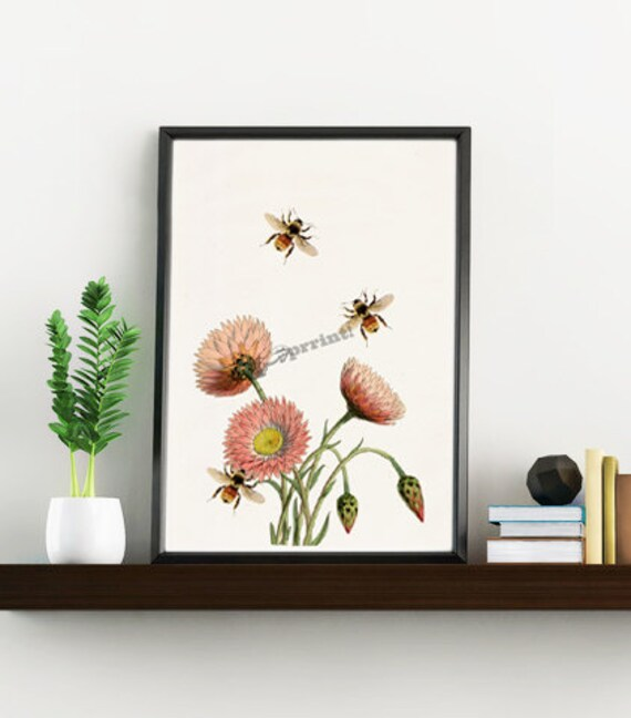 Bees with flowers insect Wall decor art BFL004WA4