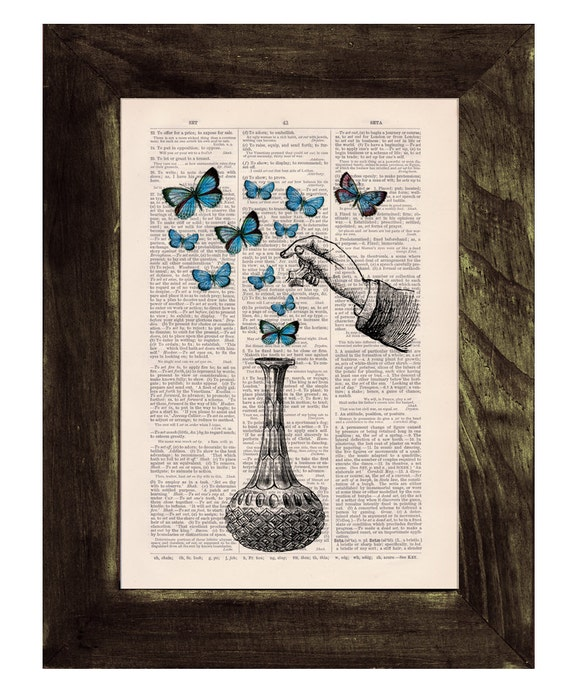Christmas gifts for mom Blue Butterfly collage Anitque Book Art Upcycled Art Print Book Print The bottle of wonders-collage Print BFL084