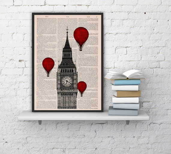 London Monument  Big Ben Tower Balloon Ride, Wall hanging, book page art, Big ben wall art decor  TVH09
