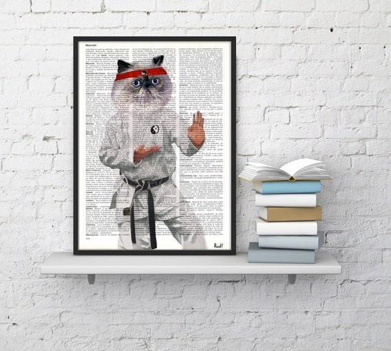 Christmas gifts for her Karate Cat poster, Wall art, Wall decor,   Vintage Book sheet, Nursery wall art, Prints, Funny art,  ANI067