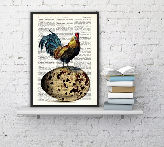 Christmas gifts for her Egg Chicken collage Print on Vintage Book The chicken or the egg art dictionary illustration ANI059