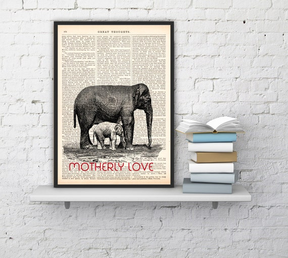 Christmas gifts for her Bedroom decor, Elephant Motherly love, Wall art, Wall decor,   Nursery wall art, Prints  ANI098