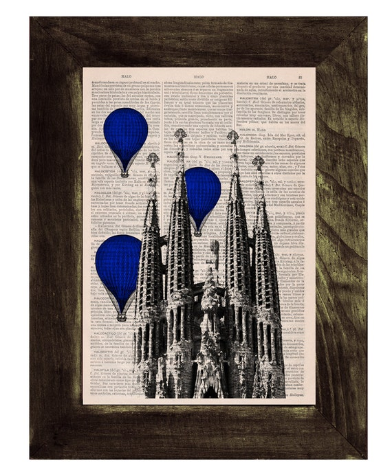 Barcelona Sagrada Familia Balloons in blue Ride Print on Vintage Book art Gaudi Holy Family, Wall art, TVH022