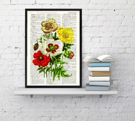 Flower bouquet Vintage Book Print Dictionary or Encyclopedia Page-  Poppy Flowers Bouquet on Vintage Book art BFL120