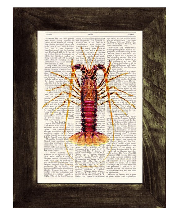 Book Print Dictionary or Encyclopedia Page Print Book print Lobster Print on Vintage Book  SEA051