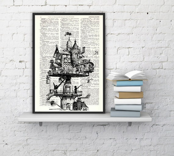 Steampunk House on book page perfect for gifts  TVH137b