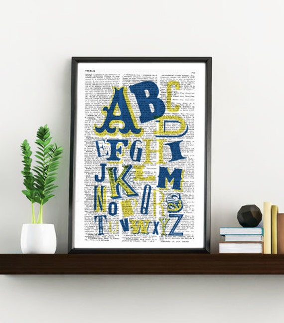Christmas gifts for her ABC typography alphabet book print - Typography collage Printed on vintage dictionary book page TYQ020