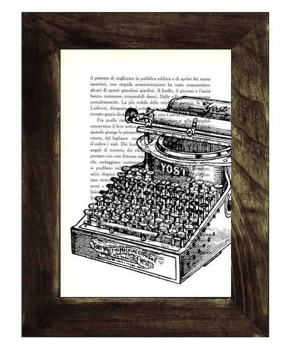 Christmas gifts for her Vintage book Typewriter Machine ilustration printed on Vintage Book page TVH100