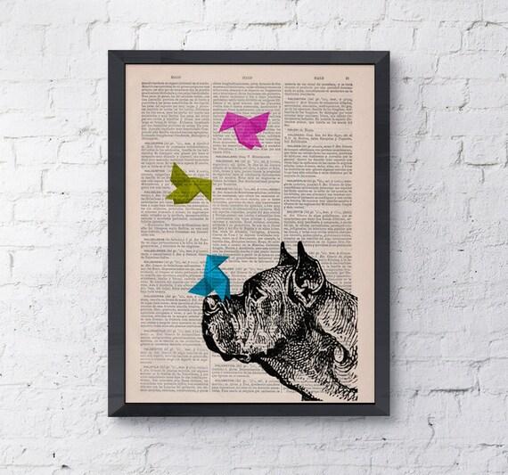 Funny pet, Origami Great French Mastiff, Wall art, Wall decor,   Vintage Book sheet, Nursery wall art,  ANI134
