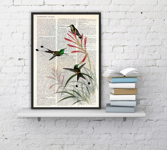 Christmas gifts for her Hummingbirds on flowers, Wall art, Wall decor,   Vintage Book sheet, Nursery wall art, Prints, Wholesale ANI117