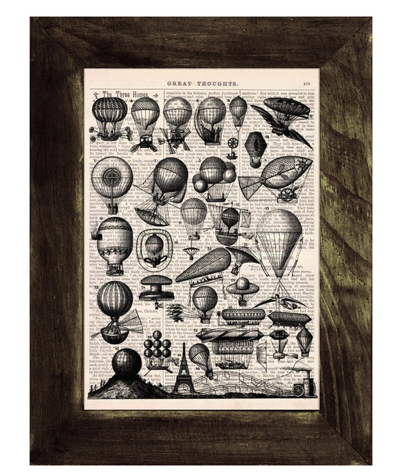 A lot of Balloons Print on Vintage Book Wall art, Wall decor, Home decor, Digital prints, Giclée, Prints,  TVH051