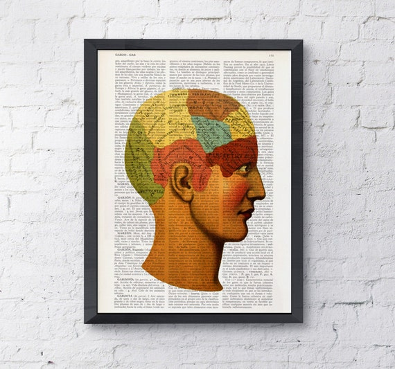 Parts Of The Brain, Phrenology study Human Anatomy Dictionary Print- gift, Brain print, art college dorm gift SKA060