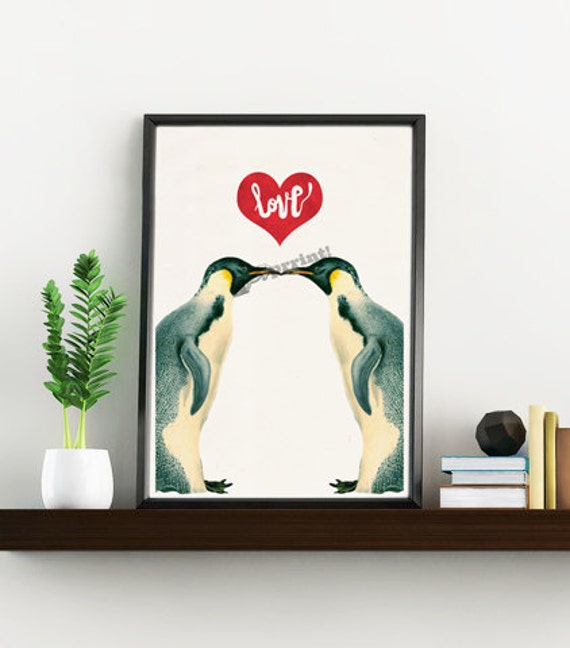 Love penguins art, Wall art decor,  animal, Giclée animal ANImal First anniversary gift, Poster ANI015WA4