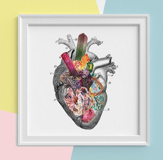 Heart with minerals Print, wall art Human anatomy print Science student gift Human heart art print, Anatomy  SKA116SQ1
