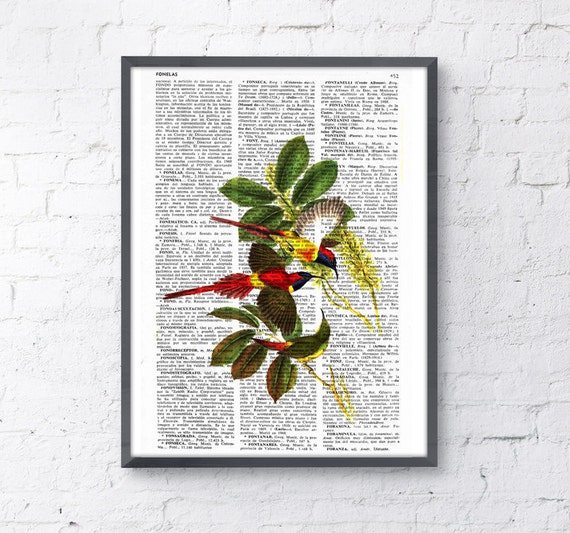 Hummingbirds, Wall art, Wall decor,   Vintage Book sheet, Nursery wall art, Prints, ANI114