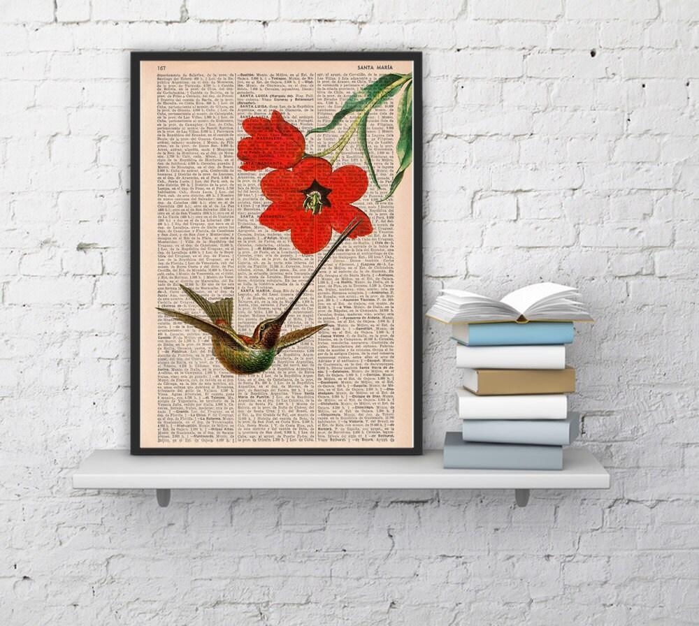 Hummingbird Wall Art Wall Decor Vintage Book Sheet
