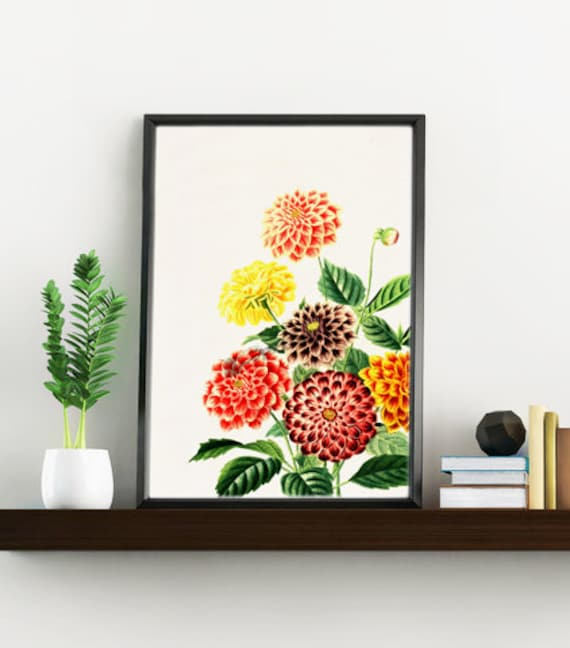 Wall art print Dahlia detail, Wall art, Wall decor, Home decor, Gift  for her, Digital prints flower, Poster art, Giclée art  BFL081WA4