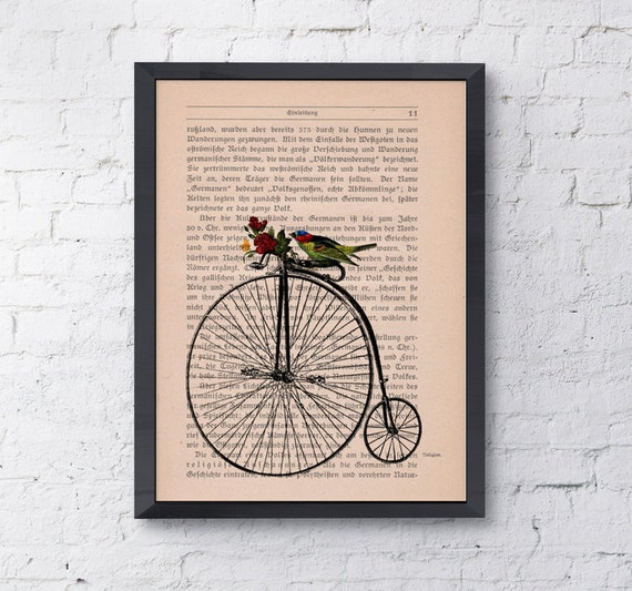 Christmas gifts for her Antique bike waiting for you, Wall art, Wall decor,   Vintage Book sheet, Nursery wall art, Prints ANI181