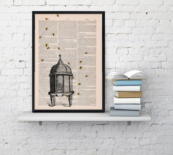 Christmas gifts for mom Poster print Bee hive Dictionary art Bumble bee Art Print Wall Art Decor-Bee hive- Wall hanging giclee print BFL029